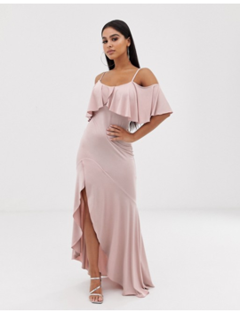 Flounce London Petite Satin Stretch Midi Dress With Cold Shoulder With Frill Detail In Mauve by Flounce London