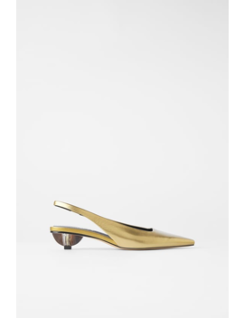 Leather Shoes With Geometric Mid  Height Heels High Heels Shoes Woman by Zara