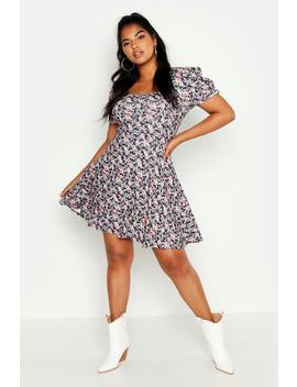 Plus Floral Soft Rib Ruched Sleeve Skater Dress by Boohoo