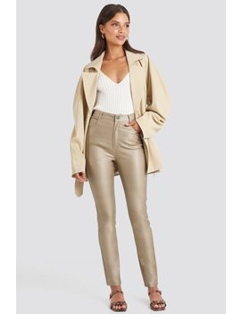 Coated Cotton Pants Beige by Na Kd Trend