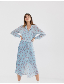 Levete Room Floral Maxi Dress With Pleated Skirt And Button Front by Maxi Dress