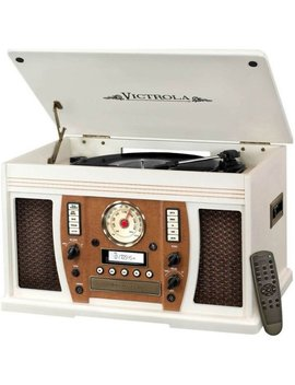 The Aviator 7 In 1 Bluetooth Wooden Music Center   White by Victrola