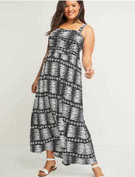 Printed Shirred Bodice Maxi Dress by Lane Bryant