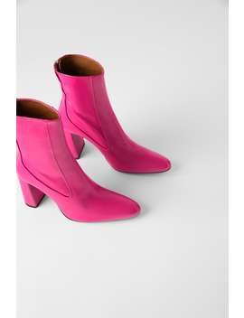 Leather Heeled Ankle Boots With Narrow Shaft View All Shoes Woman by Zara