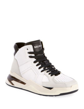 Men's B Ball Leather & Suede High Top Sneakers by Balmain