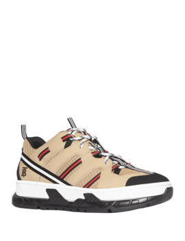 Men's Union Icon Stripe Mesh & Leather Sneakers by Burberry