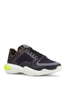Men's Ff Logo Stretch Knit/Leather Chunky Sneakers by Fendi