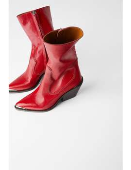Leather Heeled Cowboy Ankle Boots With Metal Detail Womanshoes & Bags New In by Zara