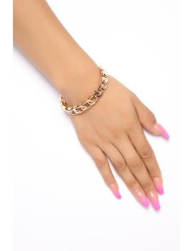 Up In Chains Bracelet   Gold by Fashion Nova