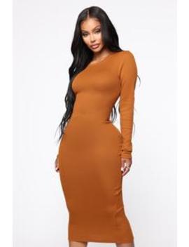Rameena Long Sleeve Midi Dress   Cognac by Fashion Nova