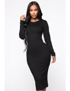 Rameena Long Sleeve Midi Dress   Black by Fashion Nova