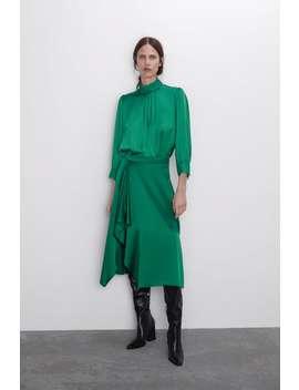 High Collar Satin Effect Blouse New Inwoman by Zara