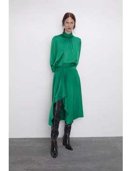 Ruffled Satin Effect Skirt New Inwoman by Zara
