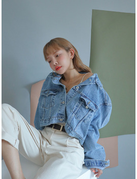 Boxy Cropped Denim Jacket by Stylenanda