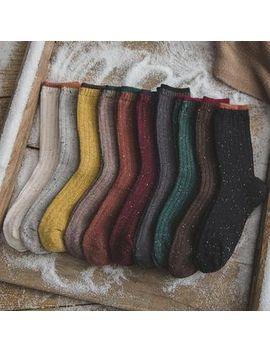Calzino   Set Of 3: Contrast Trim Crew Socks by Calzino
