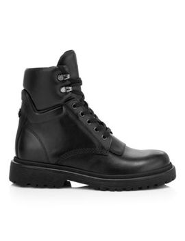 Patty Leather High Top Combat Boots by Moncler