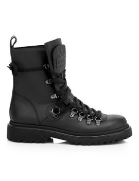 Berenice Leather Combat Boots by Moncler