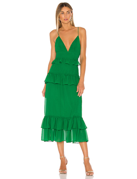 Brexley Midi Dress In Viridian Green by Lovers + Friends