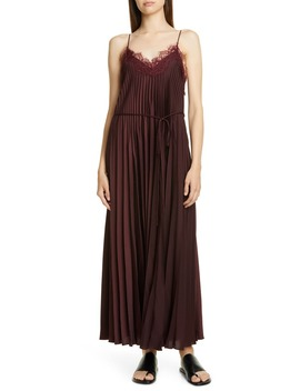 Lace Trim Pleated Satin Dress by Vince