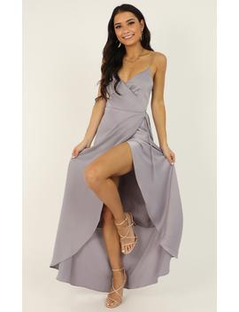 Mine Would Be You Dress In Dove Grey Satin by Showpo Fashion