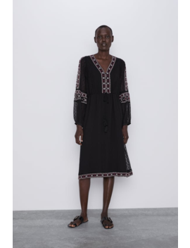 Swiss Dot Dress With Embroidery  View All Dresses Woman by Zara