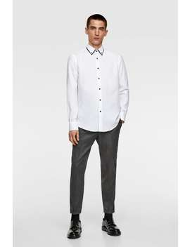 Contrasting Double Collar Shirt Formal Shirts Man by Zara