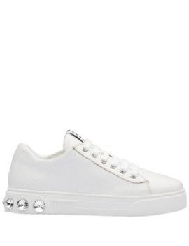 Crystal Studded Low Sneakers by Miu Miu