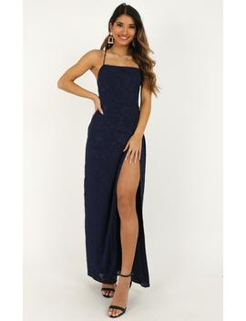They Crisscrossed Maxi Dress In Navy Jacquard by Showpo Fashion