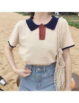 Lucky Girl   Short Sleeve Knit Polo Shirt by Lucky Girl