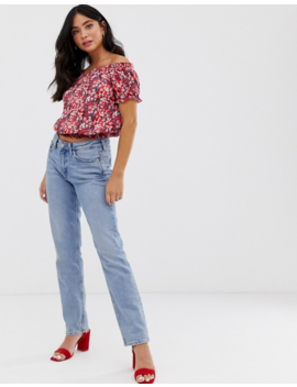 Oasis Bardot Top In Ditsy Floral by Oasis