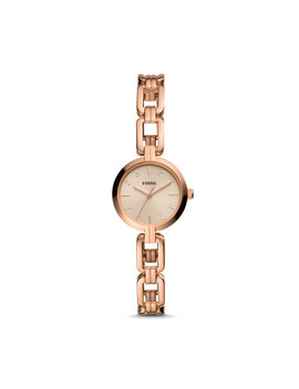 Kerrigan Mini Three Hand Rose Gold Tone Stainless Steel Watch by Fossil