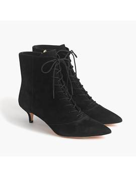 Fiona Lace Up Kitten Heel Boots In Black Suede by J.Crew