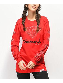Diamond Supply Co. Og Sign Red Long Sleeve T Shirt by Diamond Supply