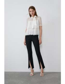 Dotted Mesh Top With Bow New Intrf by Zara