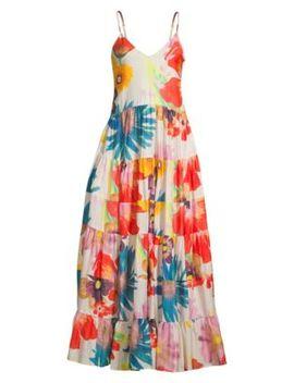 Marietta Floral Cotton Silk Maxi Dress by Carolina K