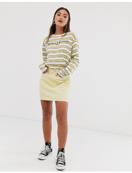 Daisy Street Oversized Long Sleeved Top In Stripe With Hollywood Graphics by Daisy Street