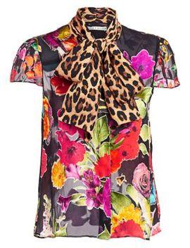 Jeanie Floral & Leopard Print Silk Blend Blouse by Alice + Olivia