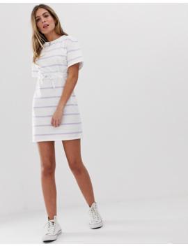 Wednesday's Girl Tie Waist Dress In Vintage Stripe by Wednesday's Girl