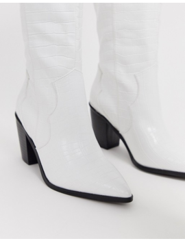 Asos Design Catch Up Western Pull On Knee Boots In White Croc by Asos Design