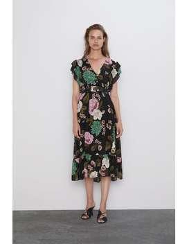 Floral Print Dress Midi Dresses Woman by Zara