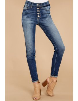Hold On Tight Dark Wash Skinny Jeans by Kan Can Premier