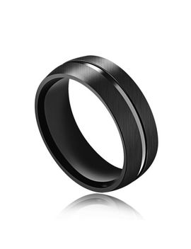 Mens Fashion Black Dull Polish Surface With Smooth Midline Titanium Steel Ring by Ebay Seller
