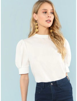 Shein Puff Sleeve Button Keyhole Top by Sheinside