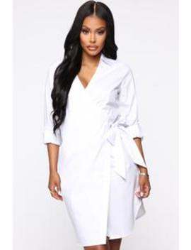 Meeting With You Shirt Mini Dress   White by Fashion Nova
