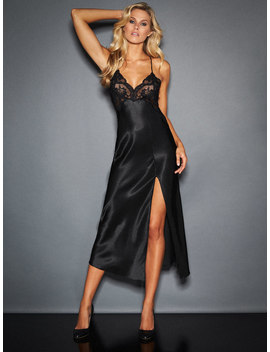 Gracie Satin And Lace Gown by Frederick's Of Hollywood