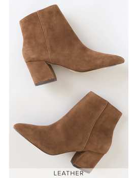 Missie Brown Suede Leather Pointed Toe Ankle Booties by Steve Madden