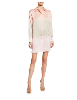 Lacene Silk Colorblock Shirtdress by Equipment