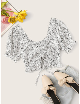 Dalmatian Print Drawstring Sweetheart Neck Crop Top by Romwe