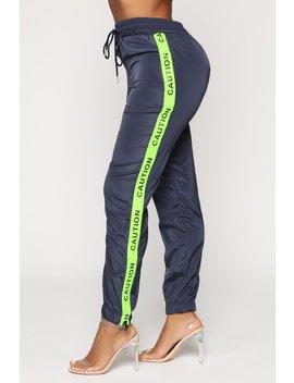 With Caution Windbreaker Jogger   Navy by Fashion Nova