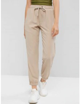 New Drawstring Solid Pockets Jogger Pants   Tan S by Zaful